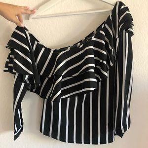 Striped Off the Shoulder Longe Sleeve top